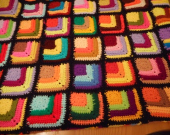 """Multi colored Hand crocheted afghan 47"""" by 64"""""""