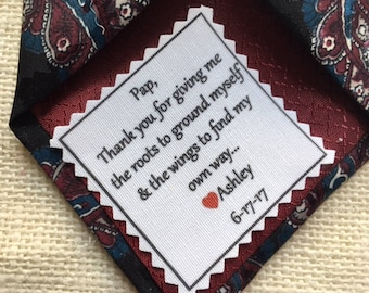 "Ink Printed WEDDING TIE PATCH - Little Heart Accent - Choose Message & Font - 2.5"" x 2.5"" Sew on, Iron On, Father of Bride or Groom, Groom"