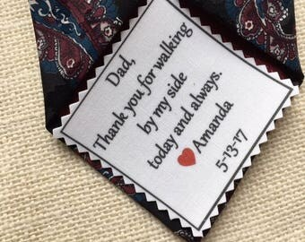"""Ink Printed TIE PATCH - Little Heart Accent - Choose Message & Font - 2.5"""" x 2.5"""" - Thank You For, Sew on, Iron On, Father of Bride or Groom"""