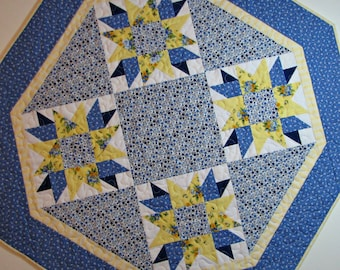Shabby Cottage Chic Quilted Table Topper, Octagon Table Mat, Blue and Yellow Floral Table Topper, Farmhouse Country Chic, Quiltsy Handmade