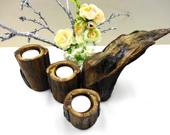 Rustic Wood Candle Holders, Log Candle Holders, Branch Candle Holders, Rustic Candle Holders, Wooden Centerpiece, Wooden Gifts, Nature Decor