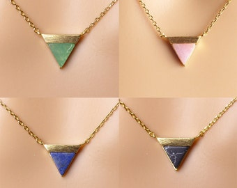 Triangle necklace,turquoise gemstone necklace, Dainty Necklace,Gift for her,Christmas present,Holiday gift