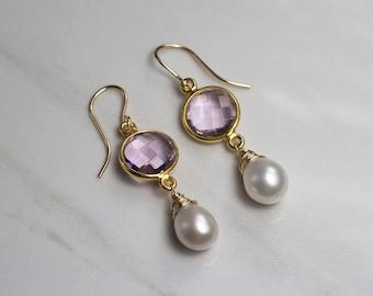 Pink amethyst earrings, lilac earrings, pearl drop earrings, lilac wedding jewellery, pearl dangle earrings bridesmaid - Amy