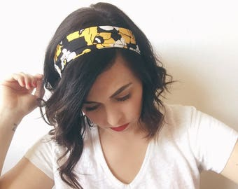 Top Knot Headband, Floral Headband, Head Wrap, Boho Headband, Yoga Headband, Wire Headband, Baby Headband, Toddler Headband, Gift for Her