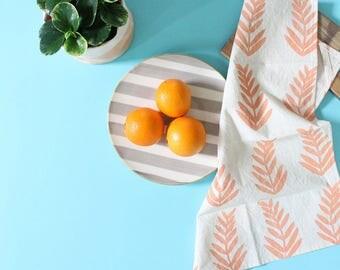 FERN TEA TOWEL - hand printed tea towel melon tropical kitchen towel mother's day gift