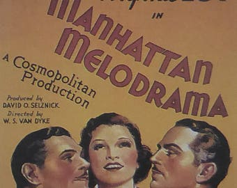 Manhattan Melodrama - Clark Gable  - Movie Poster - Framed Picture 11 x 14