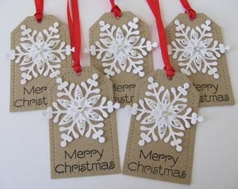 Snowflake Christmas Gift Tags, Christmas Tags, Merry Christmas Gift Tags, Christmas Hang Tags, Holiday Gift Tags, Snowflake Gift Tags