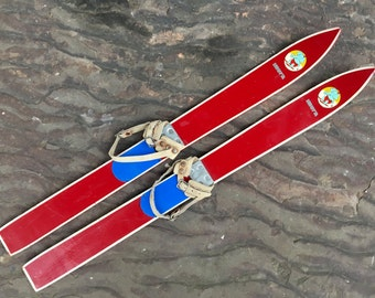 """wooden skis with leather straps ~ 29"""" elephant snow skis ~ original paint with leather bindings ~ wooden skis ~ kids skis ~ small wood skis"""