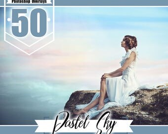 50 Pretty Pastel Sky Overlays, romantic beautiful sky overlay, sky overlays, photoshop overlay, cloud overlay, realistic nature sky, jpg