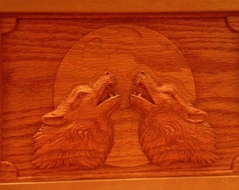 HOWLING WOLVES Carved Oak Memory Box