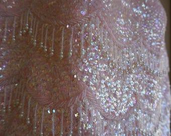Vintage 1950s 1960s  sleeveless sequined shirt size Medium pastel pink