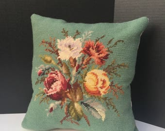 Vintage Green Floral Needlepoint Pillow