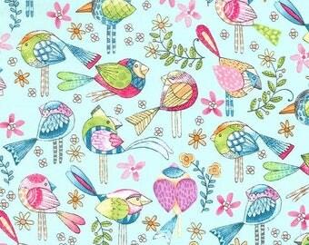 Michael Miller Fabrics - Tweet Me - CX7348-AQUA-D