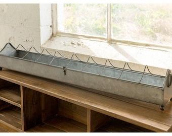 31 Inch Long Galvanized Metal Trough Feeder Centerpiece / Plate Rack  Farmhouse Decor