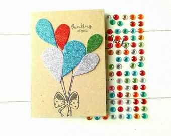 """Greeting card """"thinking of you"""", glittery congratulation card, card with balloons, handmade birthday card"""