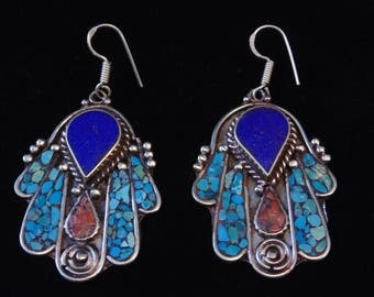 E6277 - Turquoise Lapis & Coral  Tribal Chamsa Hamsa Fatima Earrings From Tibet - Ethnic Silver Boho Statement Earrings