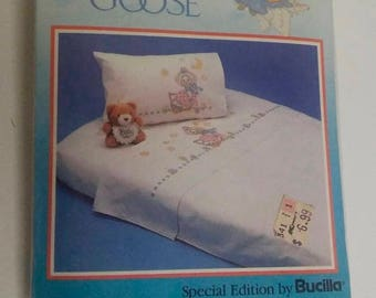 """On Sale Vintage Special Edition by Bucilla, The Real Mother Goose """"Sheet & Pillowcase Set for Cross Stitch, Kit No. 63487, New Sealed Packag"""
