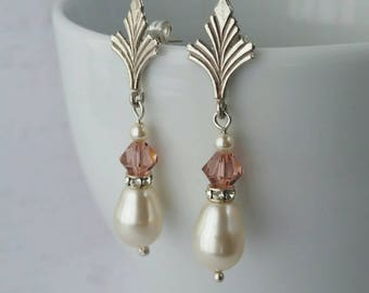 Vintage Style Art Deco Pearl & Blush Crystal Sterling Silver Earrings.  Bride. Bridesmaid. Miss Fisher. Bridal Studs