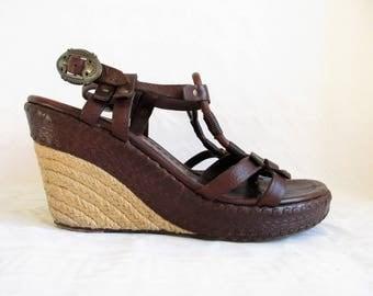 Vintage Dark Chocolate Brown Leather Rope-Soled Wedge Heel Sandals, Size : EU 37 / US Women's 6 1/2 / UK Women's 4