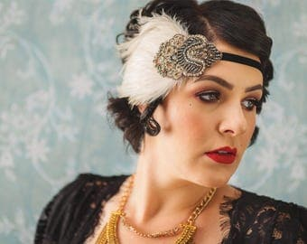 20s Hair accessory, Downton Abbey headband, Ivory feather fascinator, rhinestone headpiece, flapper speakeasy, burlesque, crystal teal