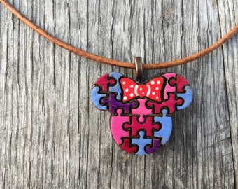 Minnie Mouse Autism Awareness Pendant - Minnie Ears Autism - Disneyland Autism -  Autism Awareness Mickey - Hidden Mickey- Minnie Mouse