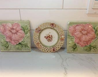 Antique set of ceramic flower tiles and plate for wall decor