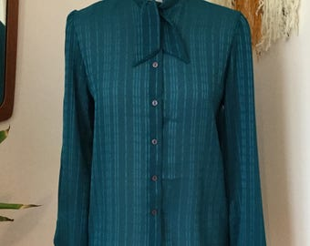 Vintage St Michael Tie Neck Blouse