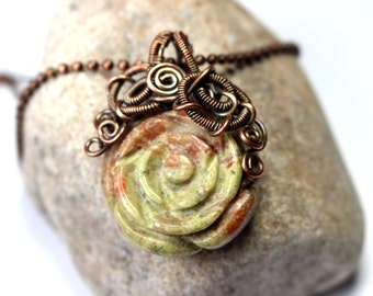 Unakite Rose Necklace - Pink and Green - Wire Wrapped Necklace - Wire Pendant - Wire Wrapped Jewelry - Ships Free in US