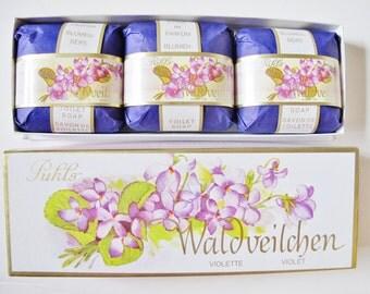 VIOLET SOAP, Waldveilchen, Flower Soap by Puhl, Berlin, Western Germany, 3 Bars