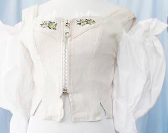 DIRNDL TOP, Trachten Top, Linen, Cotton, Lace, Embroidered Edelweiss, Sunflowers, Zippered, Shoulderless Sleeves, Oktoberfest, size S,