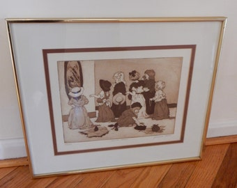 "1980s Jeanne Down Aquatint Etching ""Gettin' Ready"" Young Girls Playing Dress Up Signed Limited Edition 43/100"
