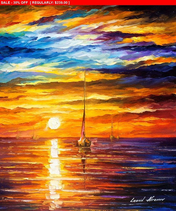 100 Hand Drawn City At Night 3 Knife Painting Modern: Lonely Sea 3 PALETTE KNIFE Modern SeaScape By AfremovArtStudio