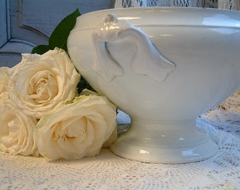 Antique large french ironstone soup tureen. Large tea stained ironstone tureen. White Shabby chic footed bowl. White tureen.