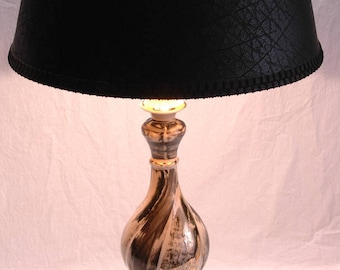 Hollywood Regency Lamps 2 Mid Century Modern Table Lamps Black White Gold MCM Home Decor