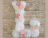 Custom Floral Wall Letters, Shabby Chic Wall Initial, Nursery Room Decor, Baby Shower Gift, Custom Home Decor, Floral Letter, Photo Prop