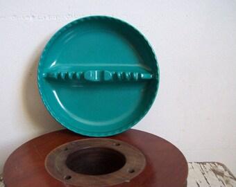 Vintage ashtray melamine 1960s Willert teal blue large ashtray