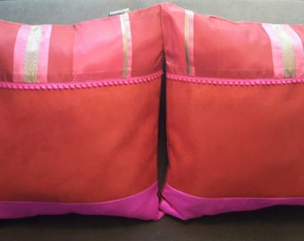 2 fabric squares patchwork CUSHIONS red and pink