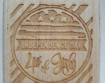 4th Of July American Flag Wood Mounted Rubber Stamp Scrapbooking & Paper Craft Supplies