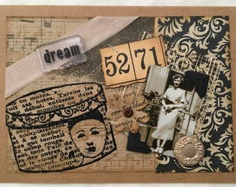 Vintage Collage Card ~ Vintage Photograph & Ephemera ~ Dream ~ Framable Art ~ Vintage-Inspired Card ~ One-of-A-Kind Card ~ Cards for Women