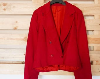 Vintage red jacket size M lining inside with shiulder strap OOAK Made in Italy
