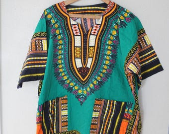 vintage dashiki green batik  tunic top with pockets