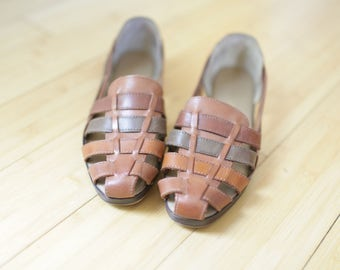 vintage woven rainbow tan leather hurache sandals womens 8 1/2