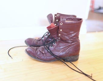 vintage maroon leather fringe ankle roper boots lace up womens  8 *
