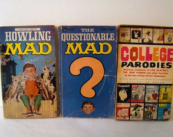 Vintage Mad Magazine books, The Questionable Mad, Howling Mad, College Parodies, vintage humor books, set of 3