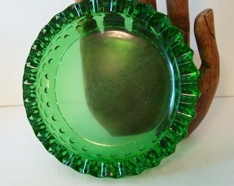 Green Fenton glass ashtray, vintage Fenton glass, vintage ashtray