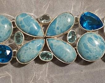 BRILLANT BLUE!! Caribbean Larimar, Blue Topaz, Sterling Silver Bracelet, Womens, Birthstone, Scorpio, Chakra, Metaphysical, Healing, GIFT!