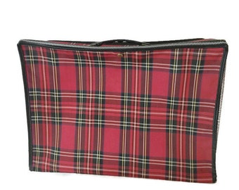 "Vintage Collapsible Red Plaid Suitcase, Vintage Folding Plaid Luggage, 17"" x 12"" x 6"""
