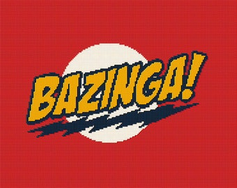 BAZINGA! Big Bang Theory -  Crochet Afghan Blanket Pattern Graphghan - BBT