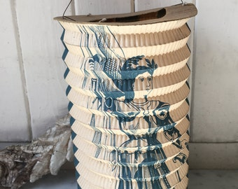 antique French paper lantern, French patriotic lantern ~ circa 1920s
