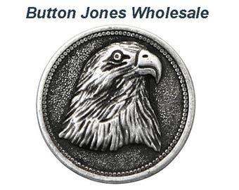 50 pcs. American Eagle 7/8 inch ( 23 mm ) Metal Buttons Antique Silver Color